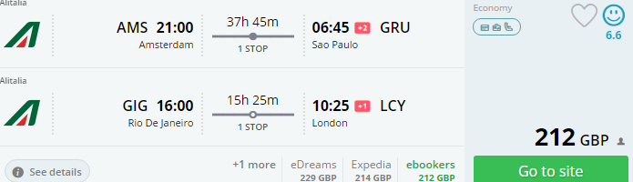 South America - cheap flights to Brazil from Europe from €274!