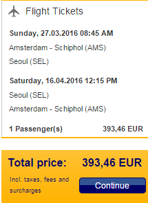 Return flights from Amsterdam to South Korea for €393!
