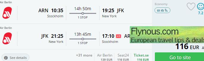 Super cheap return flights from Sweden to USA €116 (£89)!!