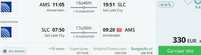 Return flights from Europe to Salt Lake City from €330!
