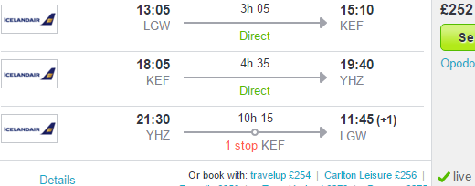Multi-city flights from UK to Iceland and Canada (Halifax) £252!