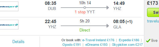 Open jaw flights from Dublin to Halifax return UK from £173!