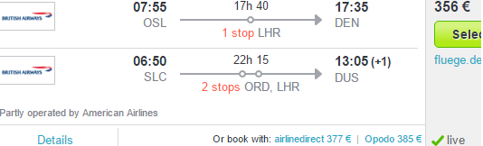 Open jaw flights to Denver return from Salt Lake City from €356 / £307!