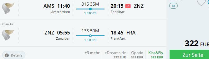 Round trip flights from Europe to Zanzibar from €322!
