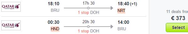 Qatar Airways flights from Brussels to Tokyo from €373!