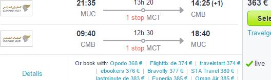 Cheap flights to Colombo, Sri Lanka from Germany from €363!