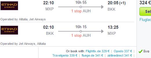 Etihad Airways - Cheap flights from Italy to Thailand €324!