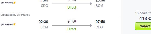 Direct flights from Paris / Amsterdam to Mumbai from €418!