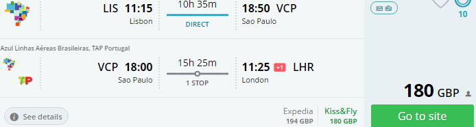 Cheap error fare flights from Europe to Brazil from £180 or €214!