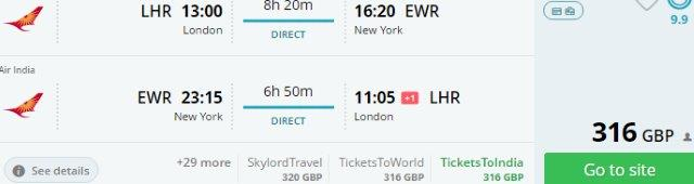 Direct flights from London to New York from £316!