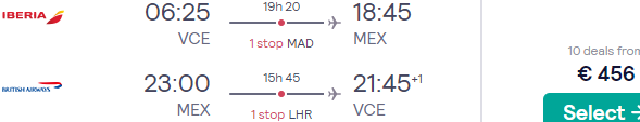 Cheap flights from Italy to Mexico City for €456!