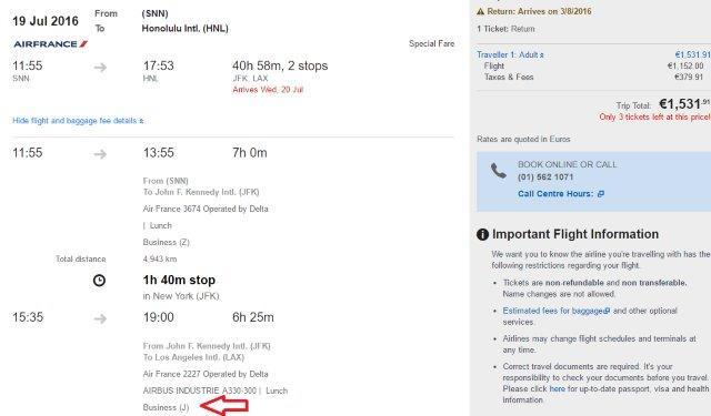 Business class summer flights Ireland to Hawaii from €1532!