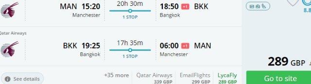 Cheap return flights from UK Manchester Edinburgh Birmingham to Bangkok Thailand with top ranked airlines Qatar Airways global promo sale