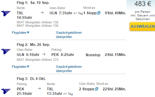 Multi-city flights from Germany to Mongolia & China for €483!