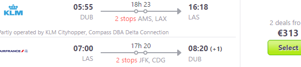 Flights from Ireland to Las Vegas over Christmas €313!