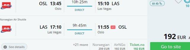 Return flights from Europe to Las Vegas from €192!