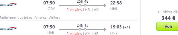 Error fare British Airways return flights to Hawaii from €344!