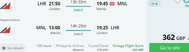 Non-stop flights from London to Manila from £362!