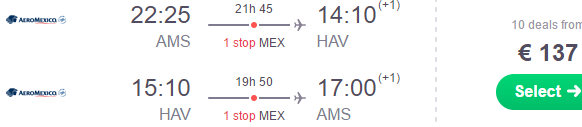 Error fare! Return flights from Amsterdam to Central and South America from €137!
