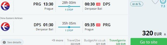 China Eastern Airlines - Return flights from Prague to Bali €320!