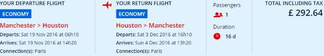 Air France / KLM - return flights from Manchester to Houston £292!