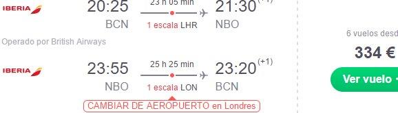 Spain / Italy to Kenya with British Airways from €334!