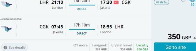 Garuda Indonesia flights from London to Jakarta, Bali, Lombok from £350!