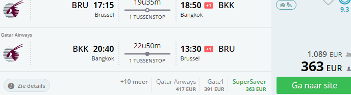 Return flights from Brussels to Bangkok in main season from €363!