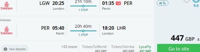 Cheap flights from the UK to Australia (Perth) £447!