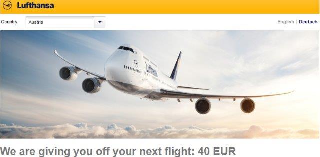 Lufthansa personal discount voucher - up to €40/£35 cheaper flights!