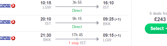 Flights from UK to Bangkok, Kuala Lumpur or Singapore with day in Istanbul from £243!