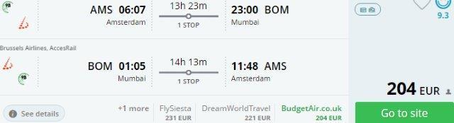 Error fare flights from Amsterdam to Mumbai, India for €204!