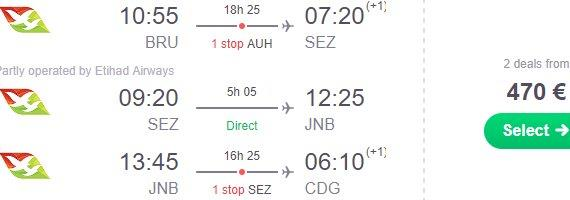 Fly to Seychelles and Johannesburg at once - Multi city flights from €470!