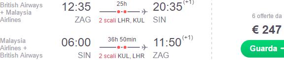 Return flights from Croatia to Singapore €247, Borneo €388, Australia €429, New Zealand €522!