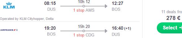 Return flights from Dusseldorf to Boston €278!
