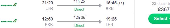 5* EVA Air non-stop flights London - Bangkok for £367 (€431)!