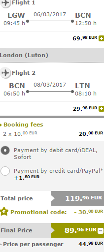 Vueling Valentine´s promotion - up to €30 discount.. (two travellers)