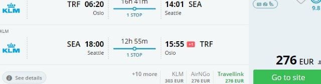 Fly from Scandinavia to Seattle for just €276 return!
