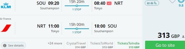 Air France / KLM flights from the UK to Tokyo from £313!