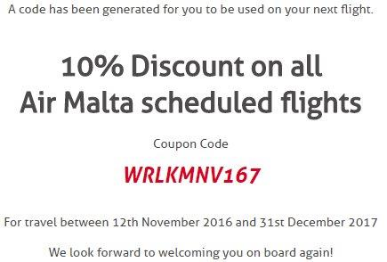 Air Malta promotion code 2017: 10% discount all flights!