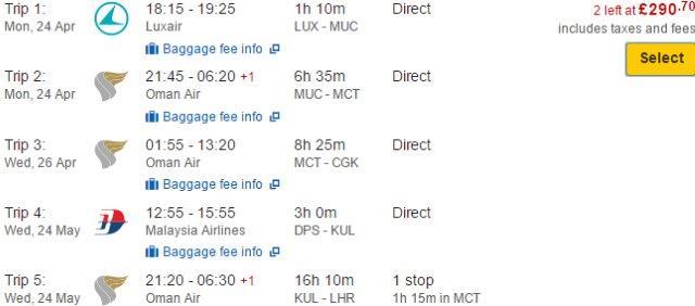 Indonesia: DOJ flights Lux - Jakarta & Bali - London/Franfurt from £291/€356!