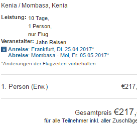 Cheap return flights from Germany/Switzerland to Mombasa from €217!