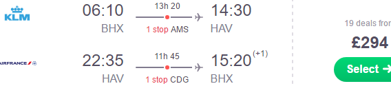 Air France / KLM flights to Havana from UK £294 or Italy €462!
