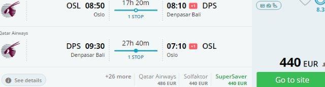 Return flights to Bali from Scandinavia €440 or Switzerland €462!