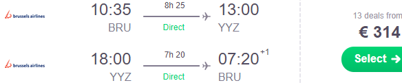 Direct flights Brussels - Canada €314!