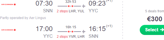 Cheap return flights from Ireland to Alberta, Canada from €300!