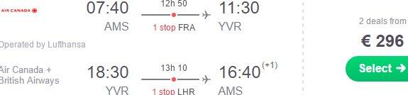 Air Canada: Vancouver from Amsterdam €296 or non-stop from London £380!