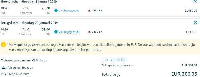 Caribbean in peak season: Brussels to Puerto Rico €306 or U.S. Virgin Islands €316!