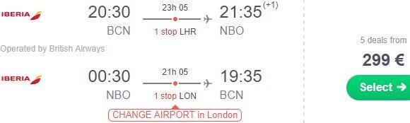 Cheap return flights from Europe to Nairobi, Kenya €299 and up..