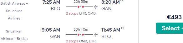 Italy to tropical Gan Island (Maldives) from €493 return!